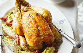 Lemon infused roast chicken with Waitrose Chablis