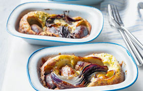 Toad in the hole with onion gravy with Waitrose Saint-Émilion