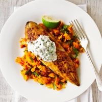 Indian spiced mackerel with carrot mash
