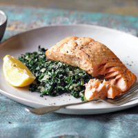 Crispy salmon with creamy greens