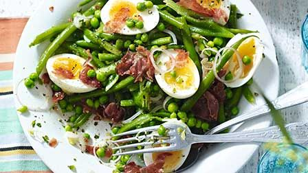 Pea & bean salad with soft boiled eggs