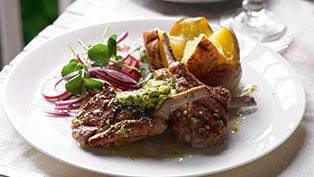 Dhruv Baker's grilled lamb chops with pesto butter