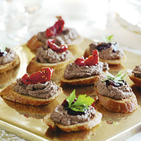 Chicken liver p t on crostini for Waitrose canape selection