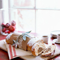 White chocolate and apricot stollen