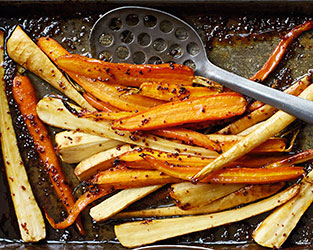 Honey-roast parsnips & carrots