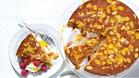 Raspberry and orange polenta cake