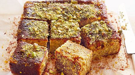 Sticky pistachio cakes with Seville orange syrup