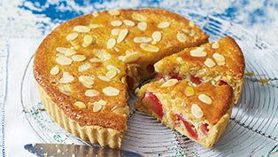 Sticky plum & almond tart