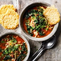 Borlotti bean minestrone with Parmesan crisps