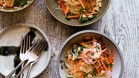 Carrot, noodle and peanut salad