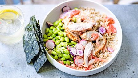 Miso chicken and grapefruit rice bowl