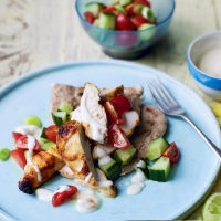 Chicken tikka with chopped salad and mango raita