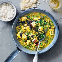 Paneer, coconut & split pea curry