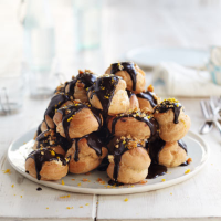 Hazelnut & chocolate profiteroles