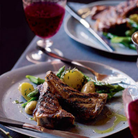 Sticky lamb cutlets with buttery asparagus tips