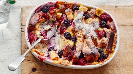 Berry & marzipan bread & butter pudding