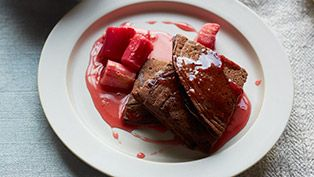 Chocolate ricotta pancakes with poached rhubarb