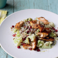 Salmon with jewelled rice