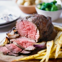 Roast beef topside with honey mustard parsnips