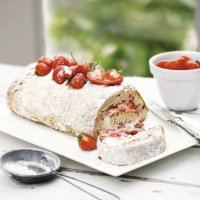 Vanilla and strawberry swiss roll