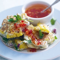 Sweetcorn and red onion pancakes with sweet chilli dipping sauce